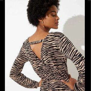 LOFT tiger stripe long sleeve dress size 0